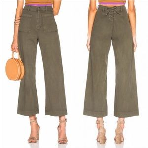 (NWT) ALC Finley Lace-up Wide leg green pants 4/27